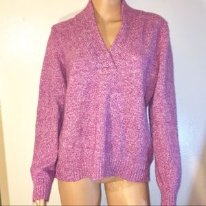 Soft Purple&White V Neck Sweater